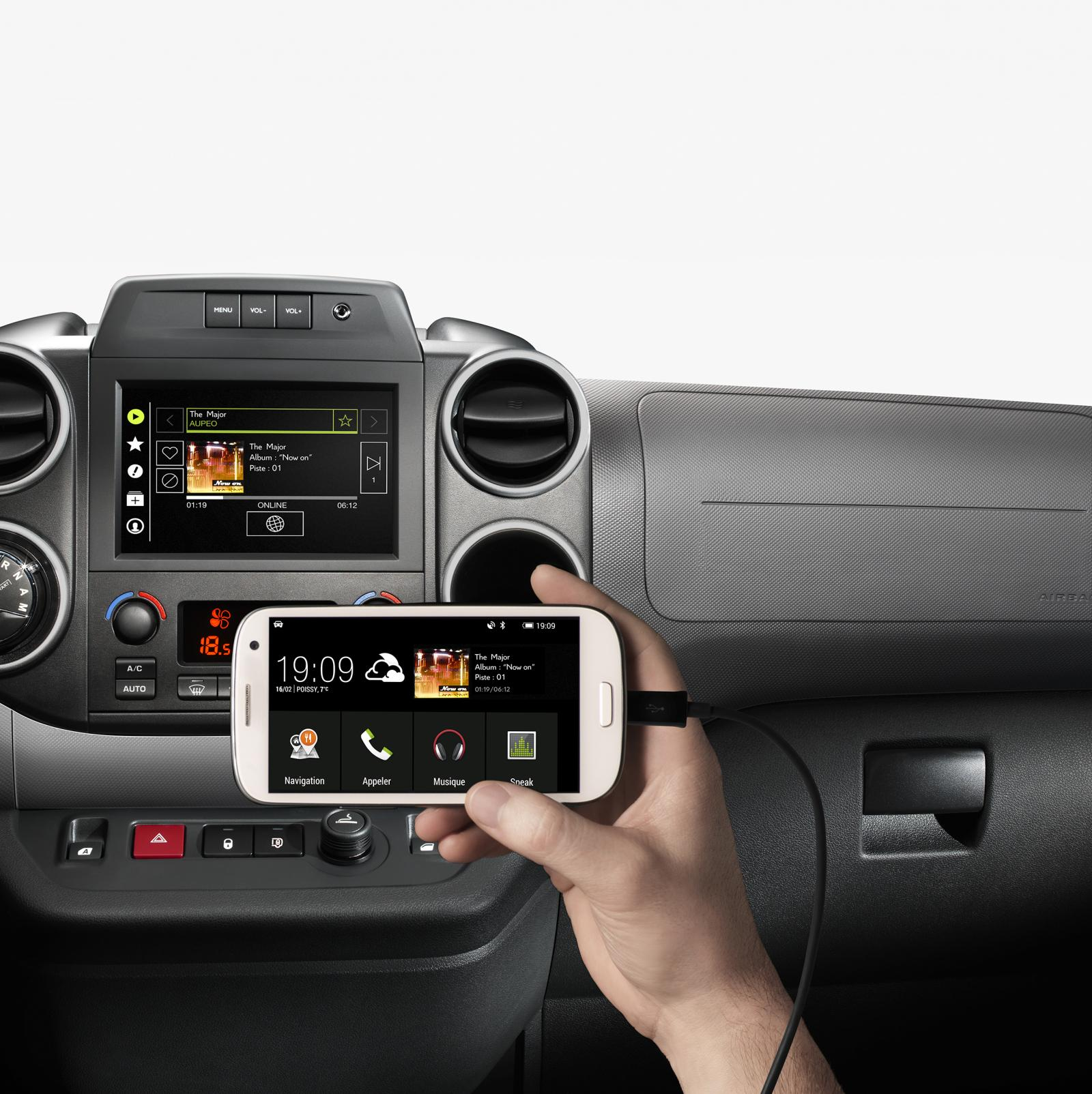 Berlingo Multispace του 2015, σύνδεση smartphone στο Mirror Screen